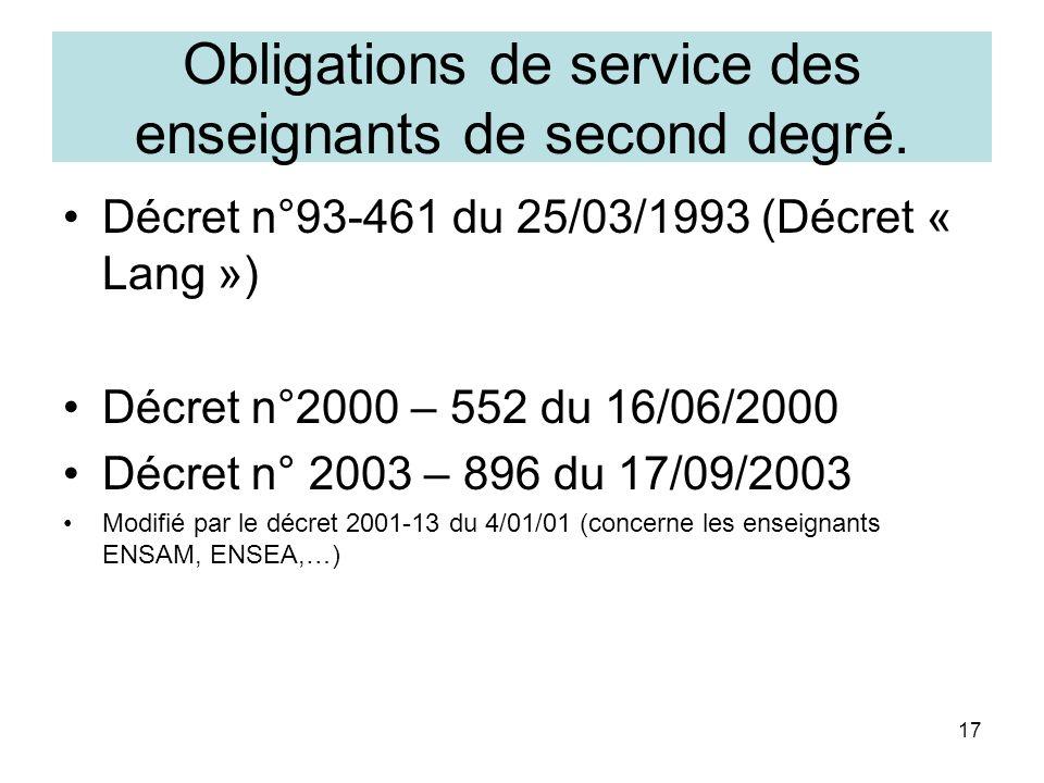 17 Obligations de service des enseignants de second degré. Décret n°93-461 du 25/03/1993 (Décret « Lang ») Décret n°2000 – 552 du 16/06/2000 Décret n°