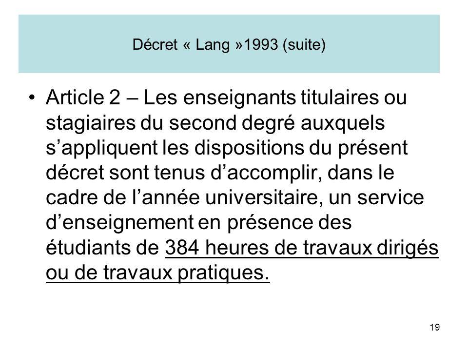 19 Décret « Lang »1993 (suite) Article 2 – Les enseignants titulaires ou stagiaires du second degré auxquels sappliquent les dispositions du présent d