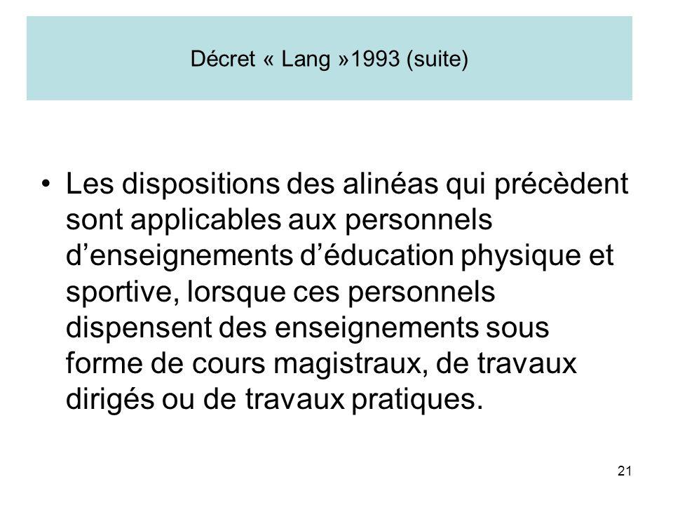 21 Décret « Lang »1993 (suite) Les dispositions des alinéas qui précèdent sont applicables aux personnels denseignements déducation physique et sporti