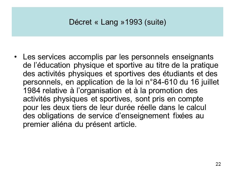 22 Décret « Lang »1993 (suite) Les services accomplis par les personnels enseignants de léducation physique et sportive au titre de la pratique des ac