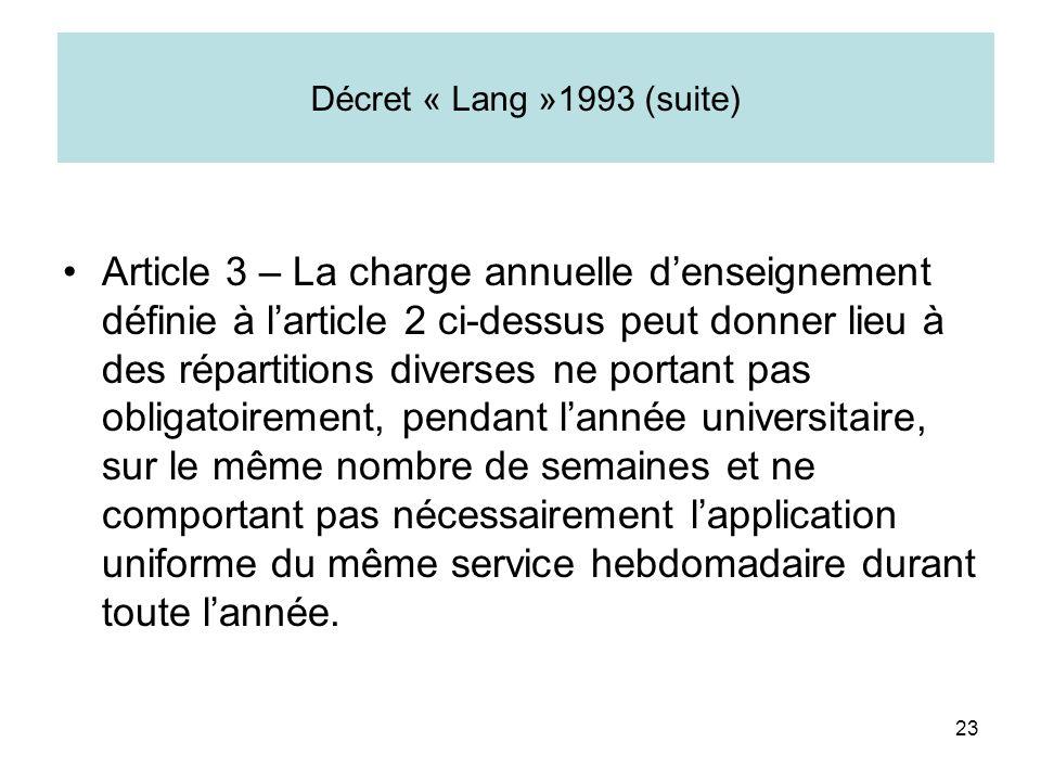 23 Décret « Lang »1993 (suite) Article 3 – La charge annuelle denseignement définie à larticle 2 ci-dessus peut donner lieu à des répartitions diverse