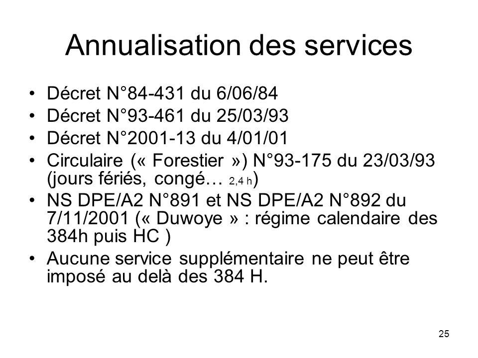 25 Annualisation des services Décret N°84-431 du 6/06/84 Décret N°93-461 du 25/03/93 Décret N°2001-13 du 4/01/01 Circulaire (« Forestier ») N°93-175 d