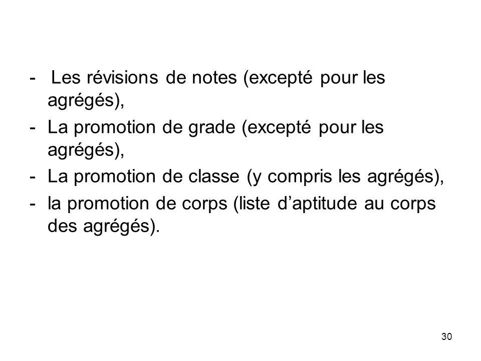 30 - Les révisions de notes (excepté pour les agrégés), -La promotion de grade (excepté pour les agrégés), -La promotion de classe (y compris les agré