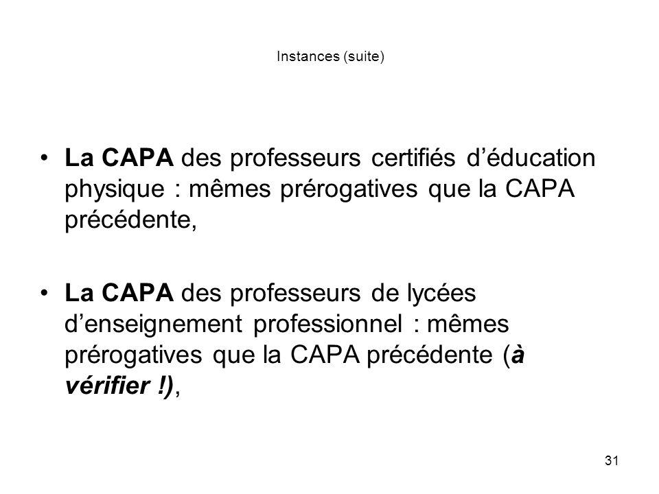 31 Instances (suite) La CAPA des professeurs certifiés déducation physique : mêmes prérogatives que la CAPA précédente, La CAPA des professeurs de lyc
