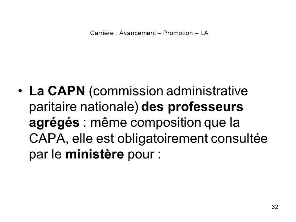 32 Carrière : Avancement – Promotion – LA La CAPN (commission administrative paritaire nationale) des professeurs agrégés : même composition que la CA