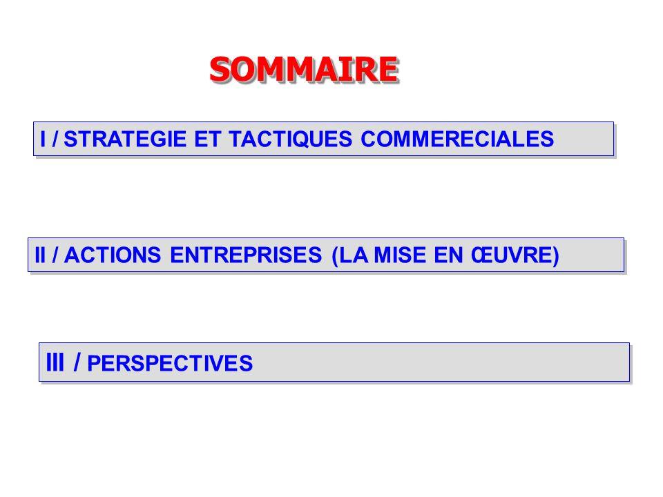 I / STRATEGIE ET TACTIQUES COMMERECIALES SOMMAIRESOMMAIRE III / PERSPECTIVES II / ACTIONS ENTREPRISES (LA MISE EN ŒUVRE)