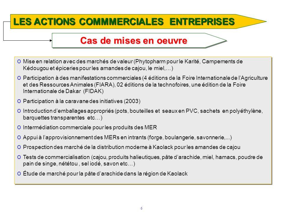 6 Cas de mises en oeuvre LES ACTIONS COMMMERCIALES ENTREPRISES o Mise en relation avec des marchés de valeur (Phytopharm pour le Karité, Campements de