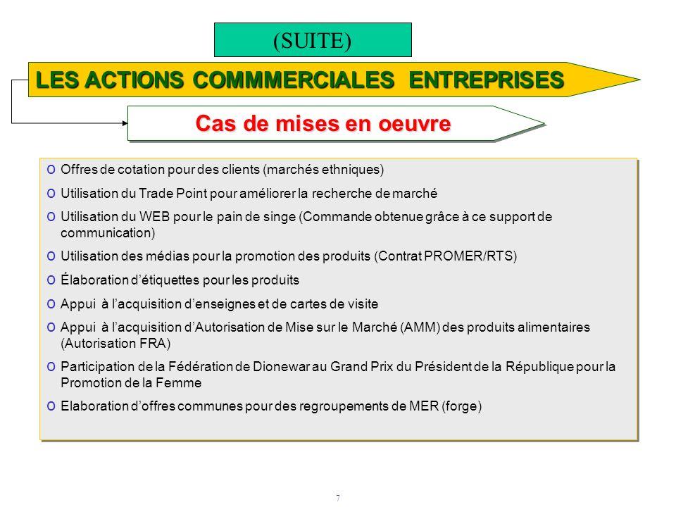 7 Cas de mises en oeuvre LES ACTIONS COMMMERCIALES ENTREPRISES o Offres de cotation pour des clients (marchés ethniques) o Utilisation du Trade Point