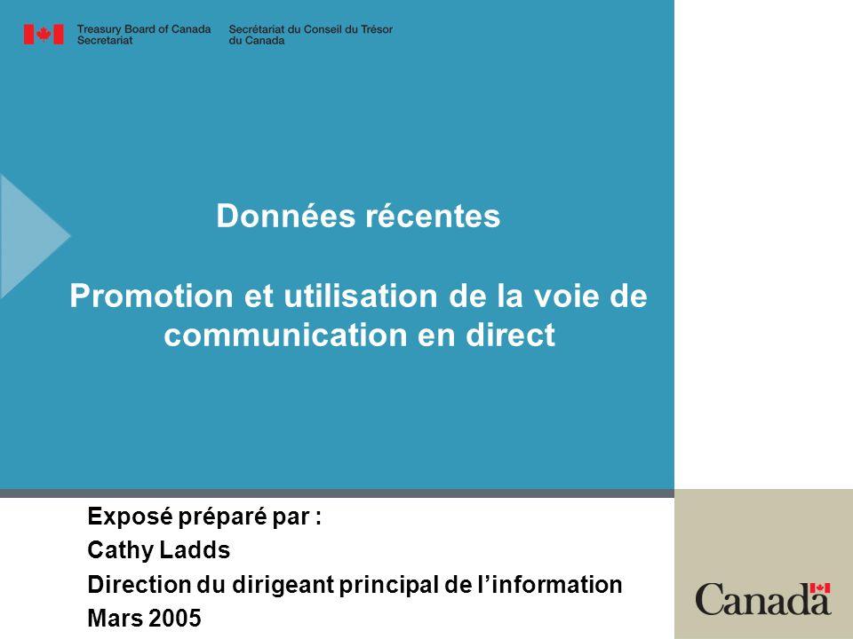 Données récentes Promotion et utilisation de la voie de communication en direct Exposé préparé par : Cathy Ladds Direction du dirigeant principal de linformation Mars 2005