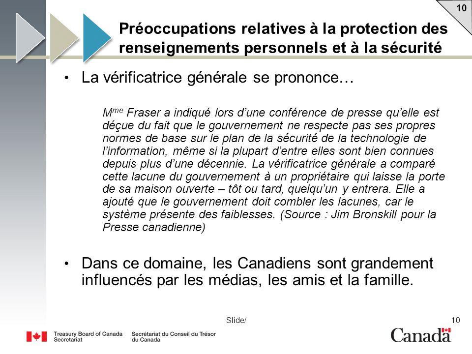10 Slide/ Préoccupations relatives à la protection des renseignements personnels et à la sécurité La vérificatrice générale se prononce… M me Fraser a
