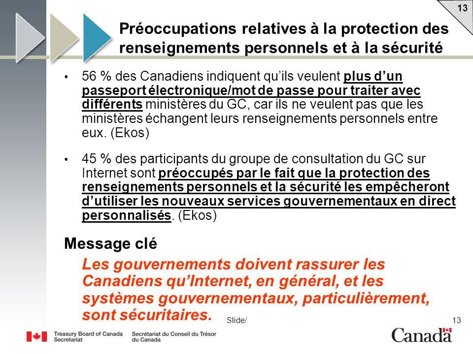 13 Slide/ Préoccupations relatives à la protection des renseignements personnels et à la sécurité 56 % des Canadiens indiquent quils veulent plus dun passeport électronique/mot de passe pour traiter avec différents ministères du GC, car ils ne veulent pas que les ministères échangent leurs renseignements personnels entre eux.