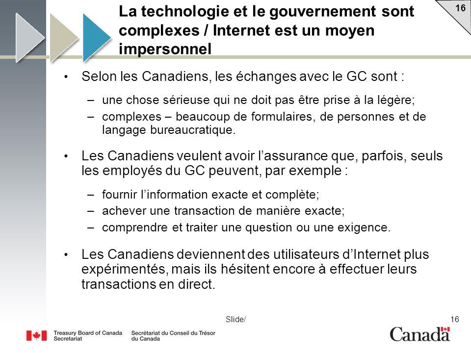 16 Slide/ La technologie et le gouvernement sont complexes / Internet est un moyen impersonnel Selon les Canadiens, les échanges avec le GC sont : –une chose sérieuse qui ne doit pas être prise à la légère; –complexes – beaucoup de formulaires, de personnes et de langage bureaucratique.