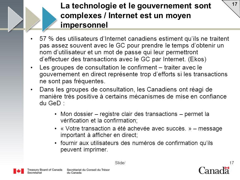 17 Slide/ La technologie et le gouvernement sont complexes / Internet est un moyen impersonnel 57 % des utilisateurs dInternet canadiens estiment quils ne traitent pas assez souvent avec le GC pour prendre le temps dobtenir un nom dutilisateur et un mot de passe qui leur permettront deffectuer des transactions avec le GC par Internet.
