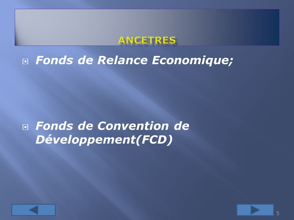 Fonds de Relance Economique; Fonds de Convention de Développement(FCD) 5