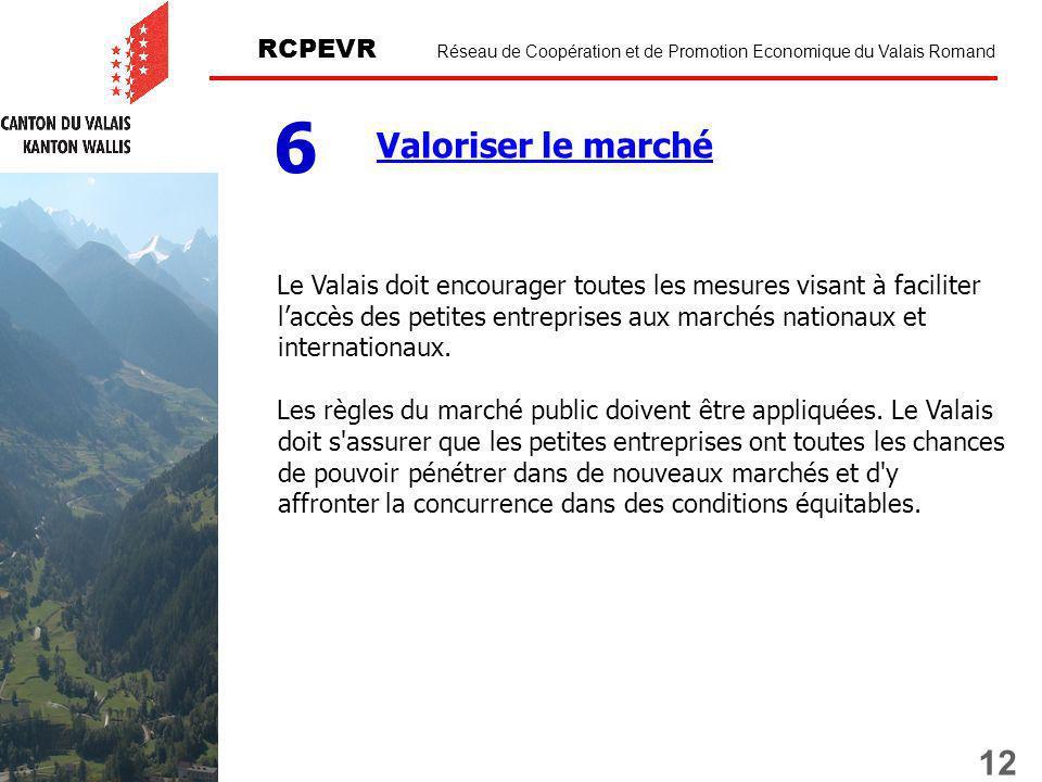 12 RCPEVR Réseau de Coopération et de Promotion Economique du Valais Romand Valoriser le marché 6 Le Valais doit encourager toutes les mesures visant à faciliter laccès des petites entreprises aux marchés nationaux et internationaux.