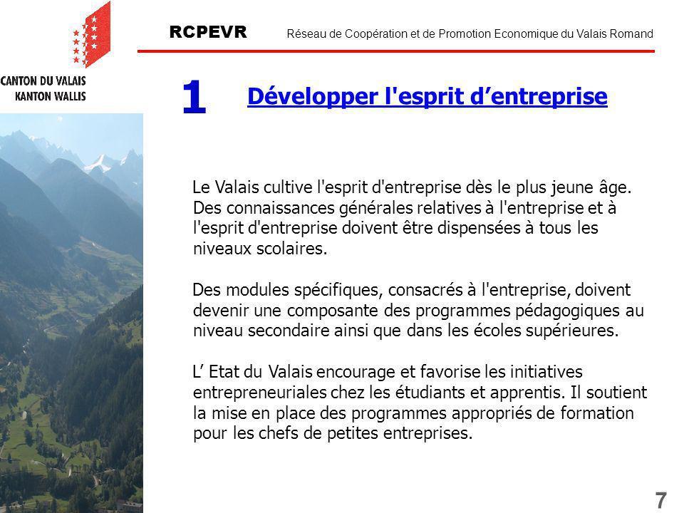 7 RCPEVR Réseau de Coopération et de Promotion Economique du Valais Romand Développer l esprit dentreprise 1 Le Valais cultive l esprit d entreprise dès le plus jeune âge.