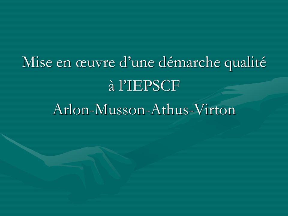 Mise en œuvre dune démarche qualité à lIEPSCF Arlon-Musson-Athus-Virton