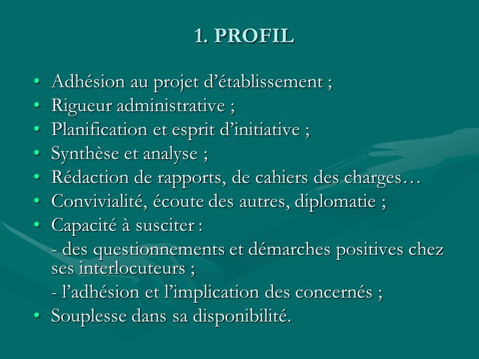 1. PROFIL Adhésion au projet détablissement ;Adhésion au projet détablissement ; Rigueur administrative ;Rigueur administrative ; Planification et esp