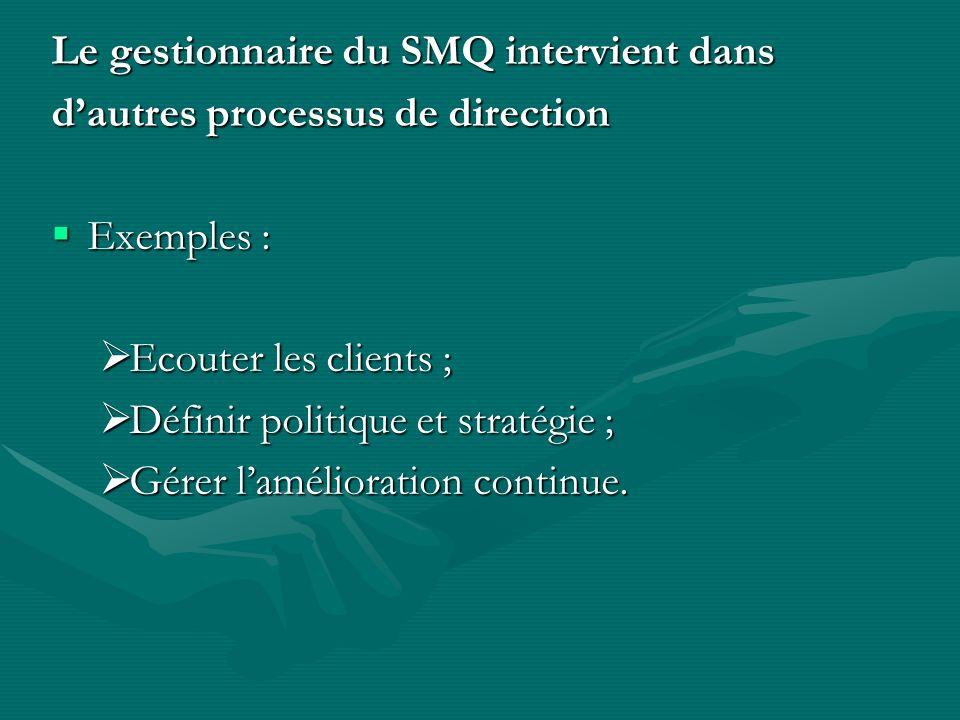 Le gestionnaire du SMQ intervient dans dautres processus de direction Exemples : Exemples : Ecouter les clients ; Ecouter les clients ; Définir politique et stratégie ; Définir politique et stratégie ; Gérer lamélioration continue.
