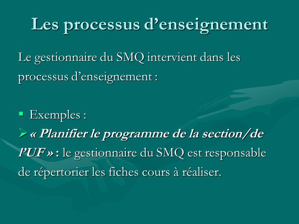 Les processus denseignement Le gestionnaire du SMQ intervient dans les processus denseignement : Exemples : Exemples : « Planifier le programme de la section/de « Planifier le programme de la section/de lUF » : le gestionnaire du SMQ est responsable de répertorier les fiches cours à réaliser.
