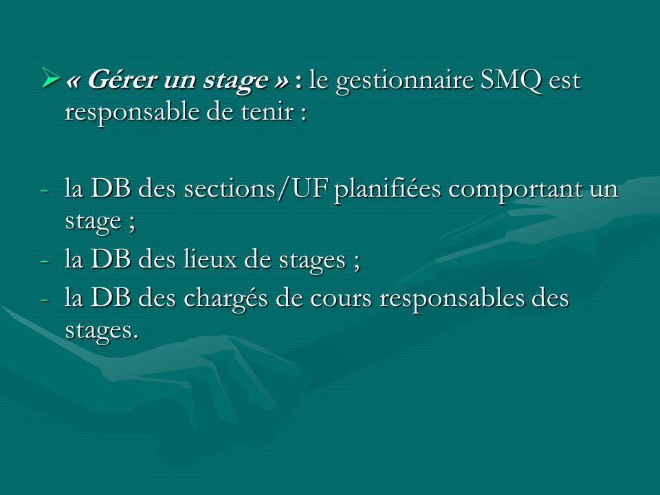 « Gérer un stage » : le gestionnaire SMQ est responsable de tenir : « Gérer un stage » : le gestionnaire SMQ est responsable de tenir : -la DB des sections/UF planifiées comportant un stage ; -la DB des lieux de stages ; -la DB des chargés de cours responsables des stages.