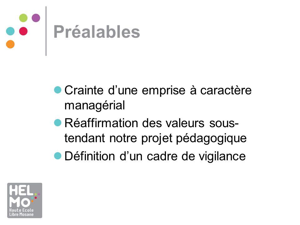 Préalables Crainte dune emprise à caractère managérial Réaffirmation des valeurs sous- tendant notre projet pédagogique Définition dun cadre de vigilance
