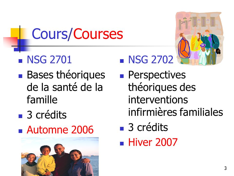 3 Cours/Courses NSG 2701 Bases théoriques de la santé de la famille 3 crédits Automne 2006 NSG 2702 Perspectives théoriques des interventions infirmières familiales 3 crédits Hiver 2007