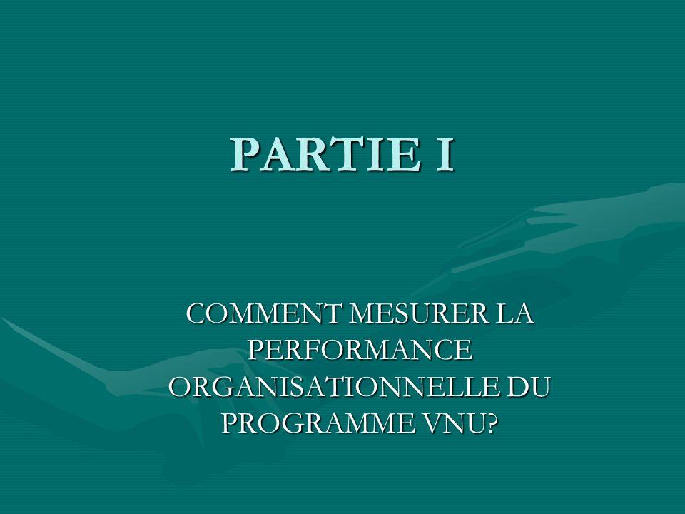 PARTIE I COMMENT MESURER LA PERFORMANCE ORGANISATIONNELLE DU PROGRAMME VNU