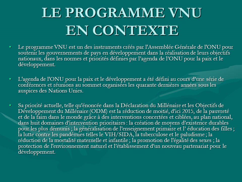 LE PROGRAMME VNU EN CONTEXTE Le programme VNU est un des instruments créés par l Assemblée Générale de l ONU pour soutenir les gouvernements de pays en développement dans la réalisation de leurs objectifs nationaux, dans les normes et priorités définies par lagenda de lONU pour la paix et le développement.Le programme VNU est un des instruments créés par l Assemblée Générale de l ONU pour soutenir les gouvernements de pays en développement dans la réalisation de leurs objectifs nationaux, dans les normes et priorités définies par lagenda de lONU pour la paix et le développement.