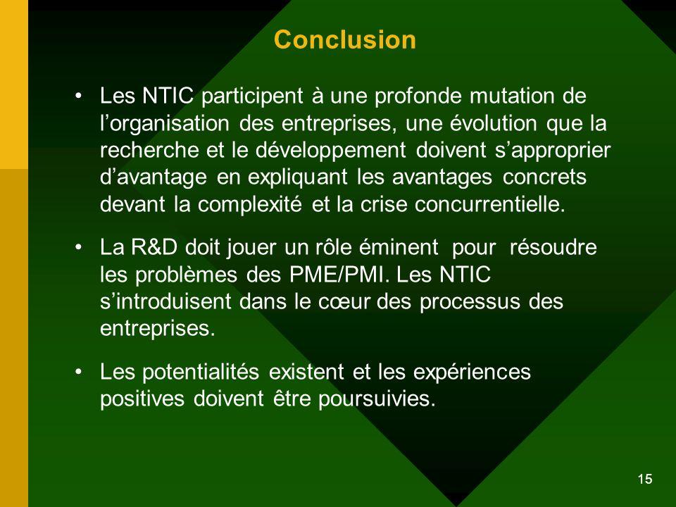 15 Conclusion Les NTIC participent à une profonde mutation de lorganisation des entreprises, une évolution que la recherche et le développement doiven