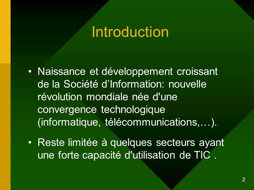 2 Introduction Naissance et développement croissant de la Société dInformation: nouvelle révolution mondiale née d'une convergence technologique (info