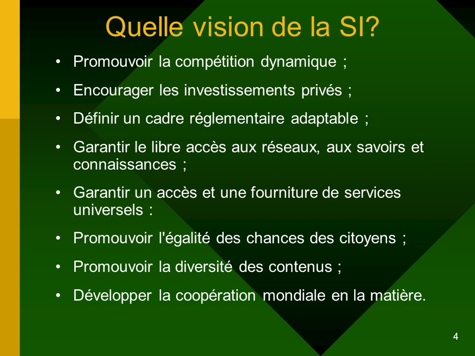 4 Quelle vision de la SI? Promouvoir la compétition dynamique ; Encourager les investissements privés ; Définir un cadre réglementaire adaptable ; Gar