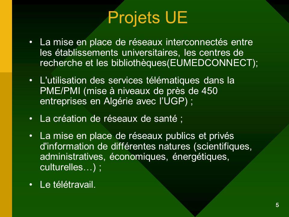 5 Projets UE La mise en place de réseaux interconnectés entre les établissements universitaires, les centres de recherche et les bibliothèques(EUMEDCO
