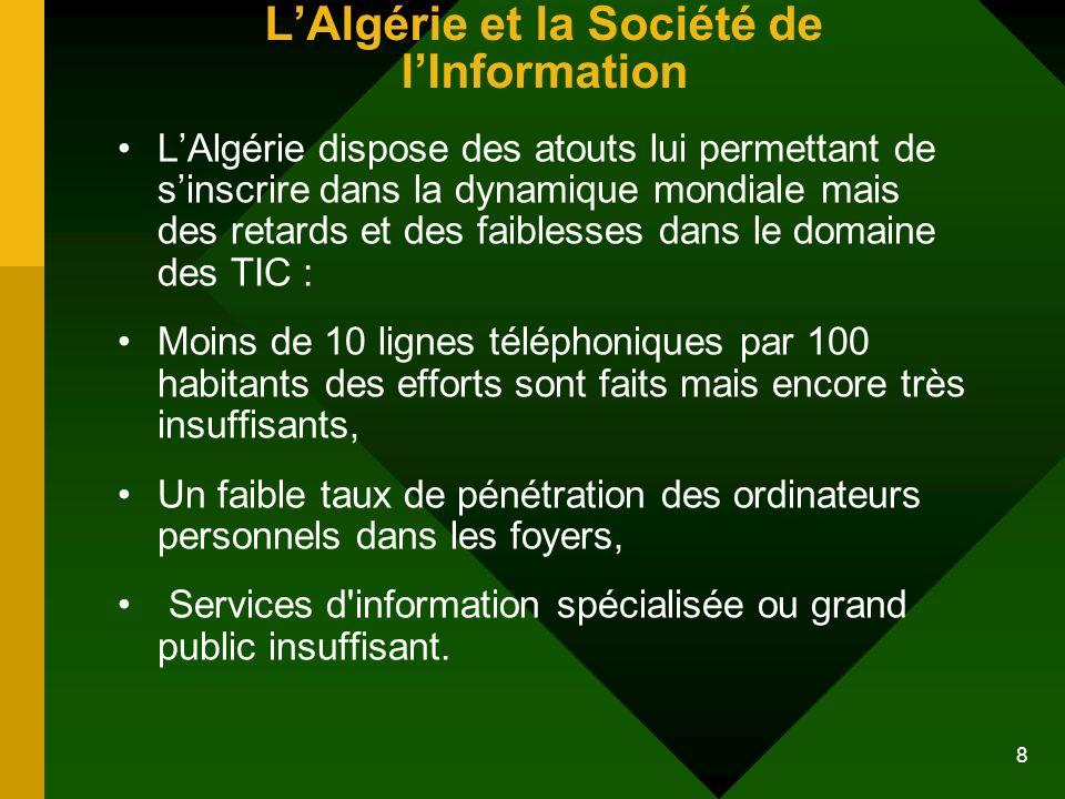 8 LAlgérie et la Société de lInformation LAlgérie dispose des atouts lui permettant de sinscrire dans la dynamique mondiale mais des retards et des fa
