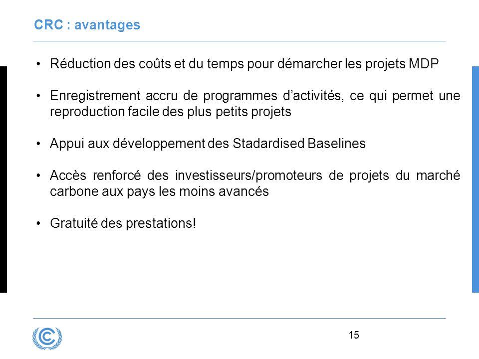 15 CRC : avantages Réduction des coûts et du temps pour démarcher les projets MDP Enregistrement accru de programmes dactivités, ce qui permet une rep