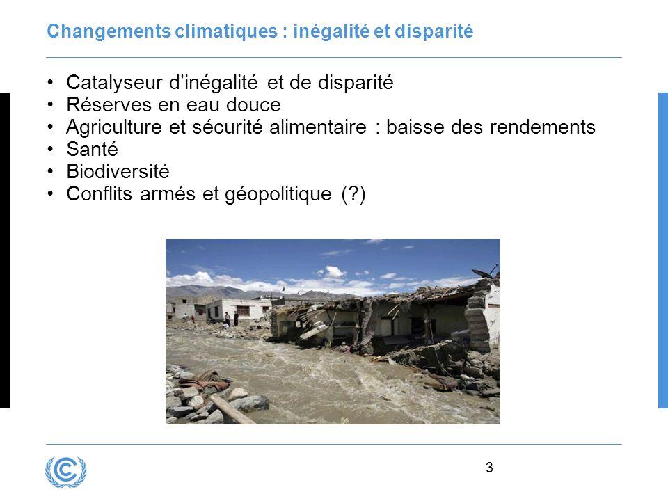 3 Changements climatiques : inégalité et disparité Catalyseur dinégalité et de disparité Réserves en eau douce Agriculture et sécurité alimentaire : b