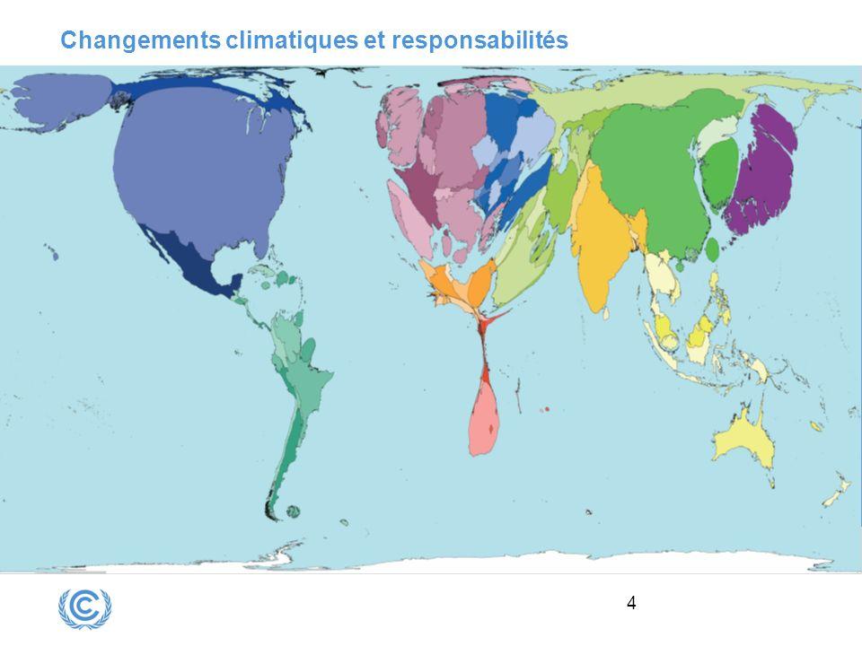 5 Réponse internationale aux changements climatiques : CCNUCC Conférence de Rio 92 sur lenvironnement et le développement Adoption de la Convention Cadre des Nations Unies sur les Changements Climatiques 3 principes : précaution responsabilité commune mais différenciés droit au développement économique 2 groupes de pays : Pays développés (annexe 1) Pays en développement et Pays les Moins Avancés