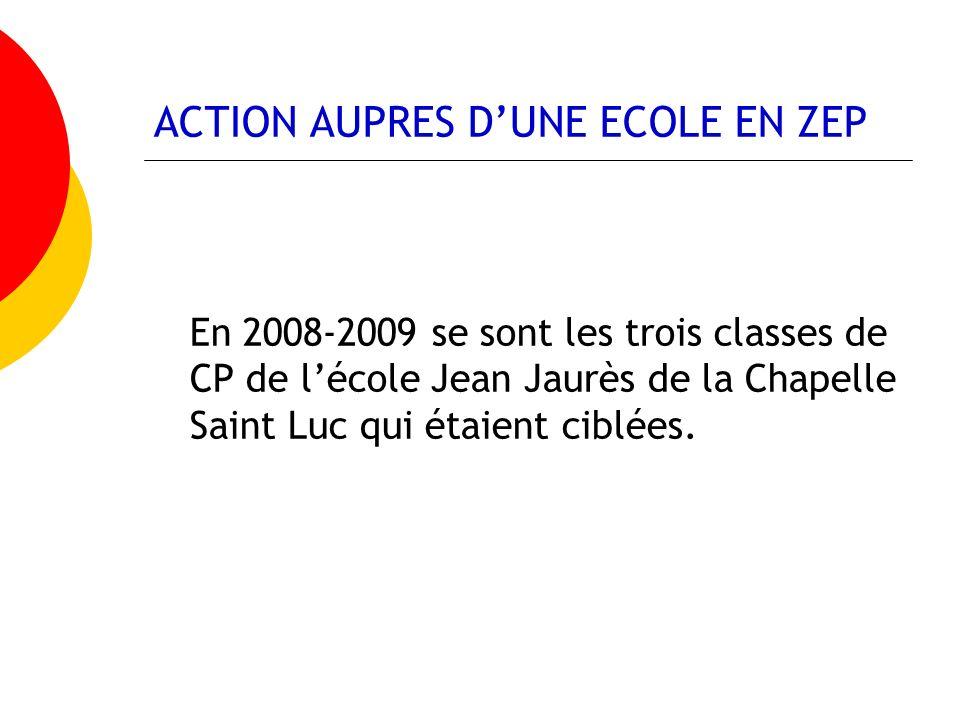 ACTION AUPRES DUNE ECOLE EN ZEP En 2008-2009 se sont les trois classes de CP de lécole Jean Jaurès de la Chapelle Saint Luc qui étaient ciblées.