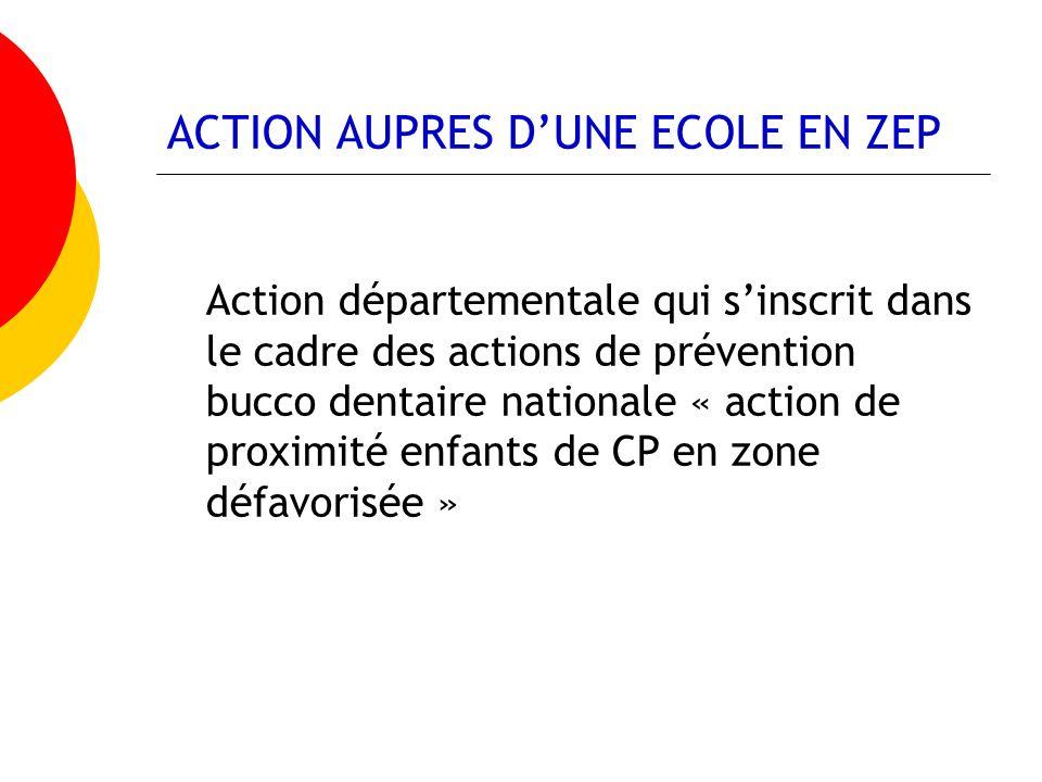 ACTION AUPRES DUNE ECOLE EN ZEP Action départementale qui sinscrit dans le cadre des actions de prévention bucco dentaire nationale « action de proxim