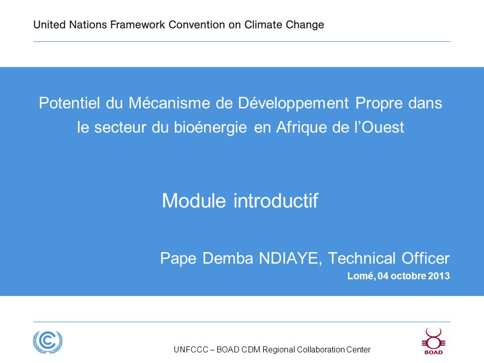 UNFCCC – BOAD CDM Regional Collaboration Center Potentiel du Mécanisme de Développement Propre dans le secteur du bioénergie en Afrique de lOuest Pape