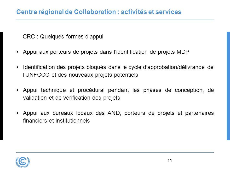 11 Centre régional de Collaboration : activités et services CRC : Quelques formes dappui Appui aux porteurs de projets dans lidentification de projets