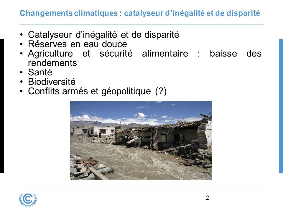 2 Changements climatiques : catalyseur dinégalité et de disparité Catalyseur dinégalité et de disparité Réserves en eau douce Agriculture et sécurité