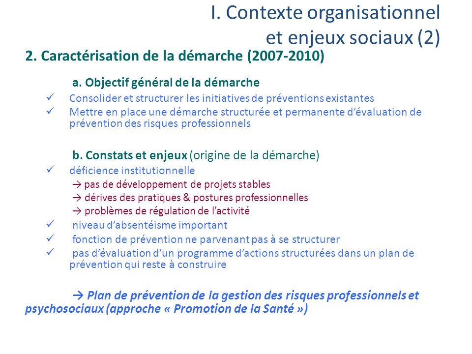 I. Contexte organisationnel et enjeux sociaux (2) 2. Caractérisation de la démarche (2007-2010) a. Objectif général de la démarche Consolider et struc