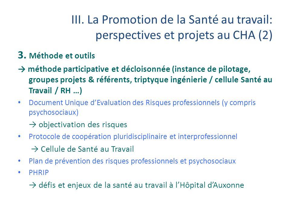 III. La Promotion de la Santé au travail: perspectives et projets au CHA (2) 3. Méthode et outils méthode participative et décloisonnée (instance de p