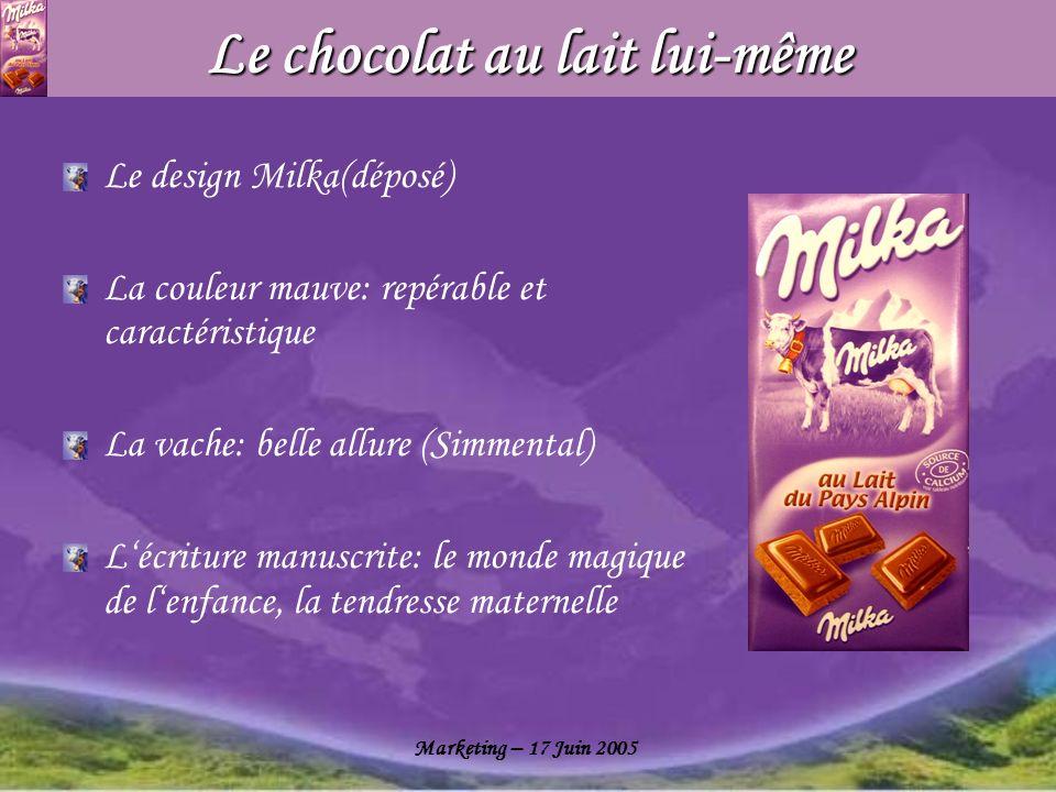 Marketing – 17 Juin 2005 Le chocolat au lait lui-même Le design Milka(déposé) La couleur mauve: repérable et caractéristique La vache: belle allure (S