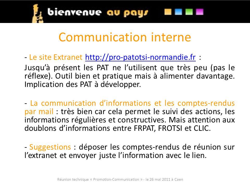 Communication interne - Le site Extranet http://pro-patotsi-normandie.fr :http://pro-patotsi-normandie.fr Jusquà présent les PAT ne lutilisent que très peu (pas le réflexe).