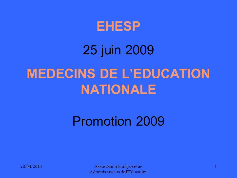 28/04/2014Association Française des Administrateurs de l Education 1 EHESP 25 juin 2009 MEDECINS DE LEDUCATION NATIONALE Promotion 2009