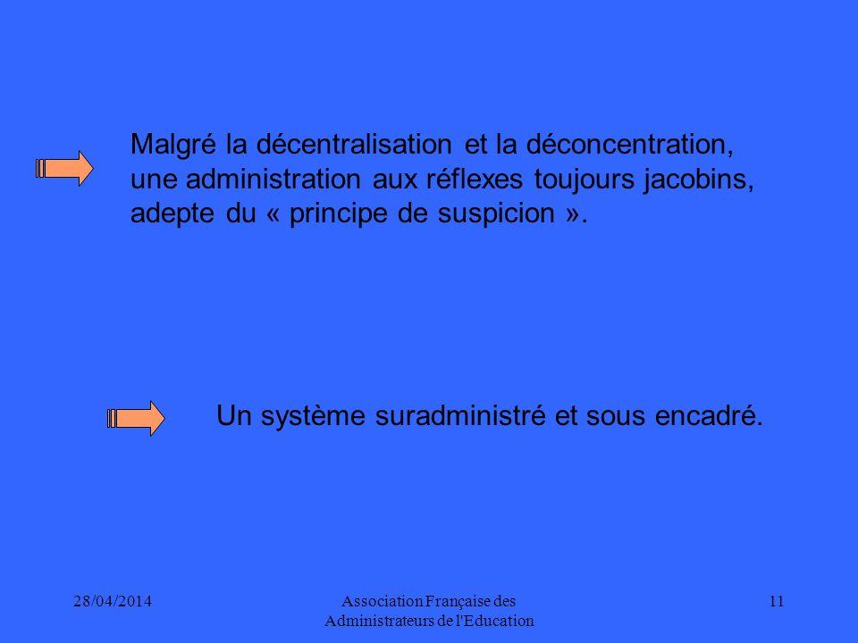 28/04/2014Association Française des Administrateurs de l Education 11 Malgré la décentralisation et la déconcentration, une administration aux réflexes toujours jacobins, adepte du « principe de suspicion ».