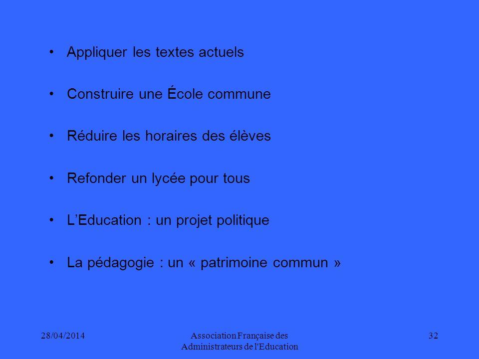 28/04/2014Association Française des Administrateurs de l Education 33 7-8 ans12-14 ans France910963 Allemagne622875 Italie891990 G.B.-- Espagne793956 Finlande608777 OCDE770896 Temps dinstruction annuel en heures suivant lâge (2005) Indicateur D1.1, RSE 2008