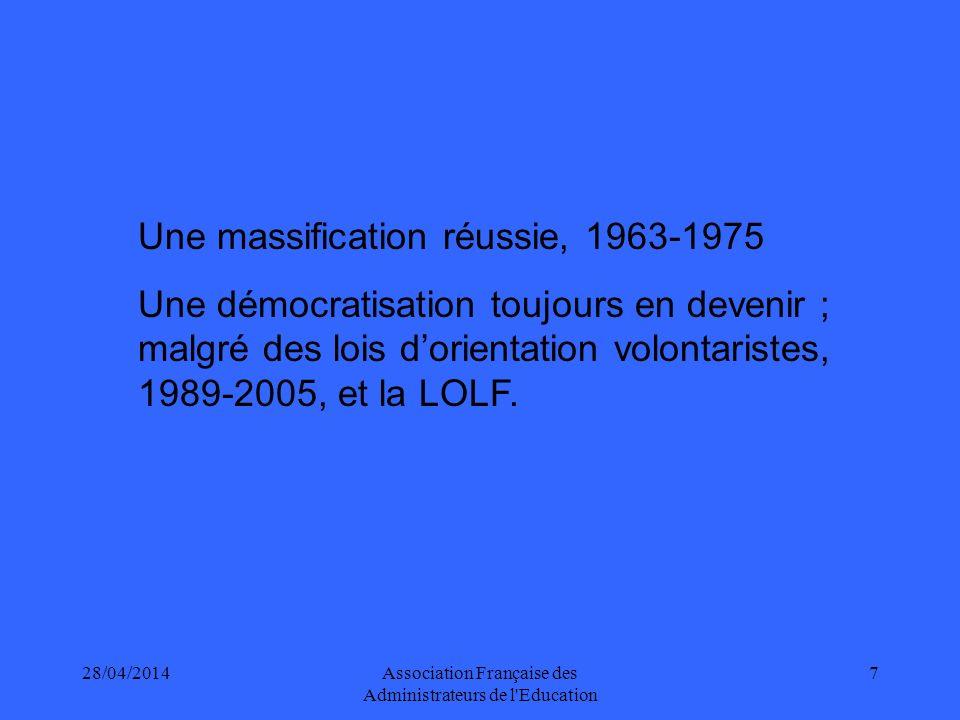 28/04/2014Association Française des Administrateurs de l Education 7 Une massification réussie, 1963-1975 Une démocratisation toujours en devenir ; malgré des lois dorientation volontaristes, 1989-2005, et la LOLF.